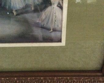 Vintage ballerina litho print/ framed ballerina print/ gesso framed print/vintage dance print