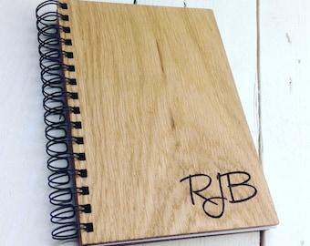 Monogrammed Oak Notebook