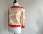 Vintage Red & White Striped Crop Top  Blouse