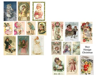 Very Vintage Christmas Digital Collage Set