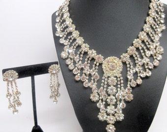 Beautiful Vintage Rhinestone Bib Waterfall Necklace and Earrings Set