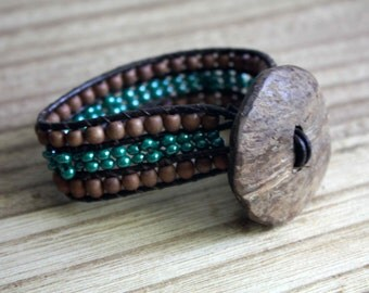 cuff bracelet with wooden beads