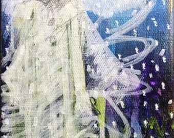 """Original Painting  """"Dreaming of Snow Angels"""" by Sheila Cameron  4"""" x 6"""" on Canvas"""