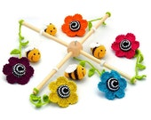 colorful baby mobile with flowers and bees / crochet crib mobile / living colors / organic cotton / nursery decor / kids room