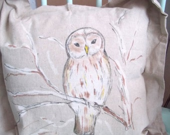Hand Painted Owl cushion / pillow cover