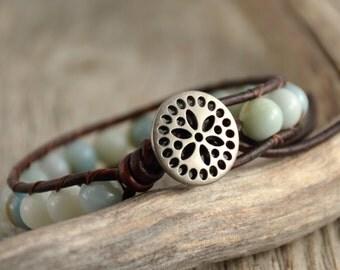 Bohemian chic leather bracelet. Beaded single wrap bracelet