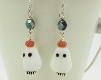 Halloween Earrings, Candy Corn Earrings, Ghost Earrings, Halloween Lampwork, Halloween Dangle Earrings
