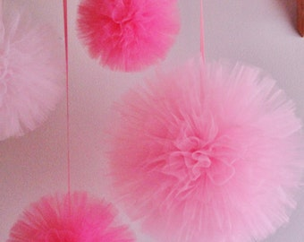 Any Color Handsewn and Woven Tulle Pom Pom Set, Birthday Decor, Girls Nursery Decor, Girls Mobile, Shower Decor, Wedding Decor