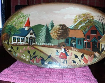 Americana Folk Art Tole Primitive Style Shaker Box Hand Painted