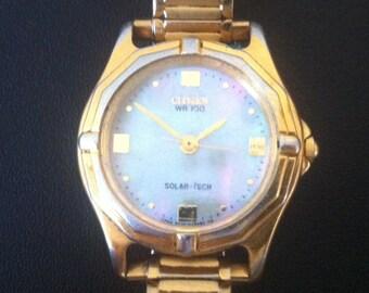 Vintage Women's Watch, Citizen WR-100, Solar-Tech, Eco Drive Watch, Gold Plate Bezel, Mother of Pearl Dial, Sun Solar Powered Watch