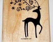 Reindeer with Flourishes, Swirls and Snowflakes Rubber Stamp retired from Stampin Up