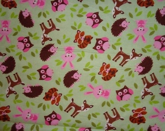 Girly Green Woodland Animal/Deer/Fox/Racoon/Fox/Owl/RabbitFlannel Fabric by the Yard