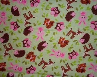 Girly Green Woodland Animal/Deer/Fox/Racoon/Fox/Owl/RabbitFlannel Fabric by the Yard