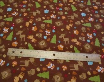 Brown Riley Blake Woodland Animal/Moose/Deer/Fox/Bear Flannel Fabric by the Yard