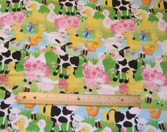 White with Farm Animals/Cow/Pig/Sheep/Pig Packed Flannel Fabric  by the Yard