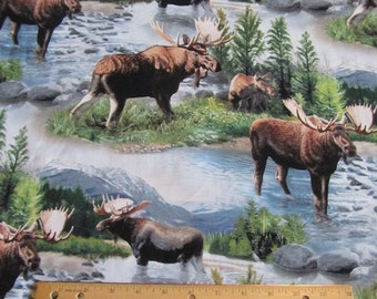 Multicolored Moose Wilderness/Mountain Cotton Fabric by the Yard