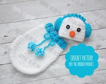 Crochet Snowman Baby Cocoon Pattern : Crochet snowman hat Etsy