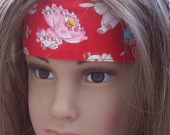 Easter bunny kids headband, girls headband. bunny print fabric