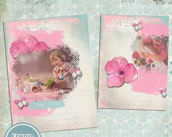 ON SALE INSTANT Download  5x7 Digital Photo Card Template - Birth Announcement or Multi Use Romantic vol. 5