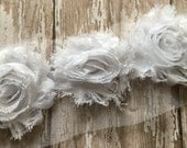 Snow White ** Shabby Flowers Chiffon Rosettes Shabby Flower trim- *Your choice of 1/2 yard or 1 Yard