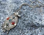 Vintage 70s Medallion Dangles Fringed Pendant Necklace Boho Hippy Gypsy Ethnic Tribal India Jewelry (New Old Stock)