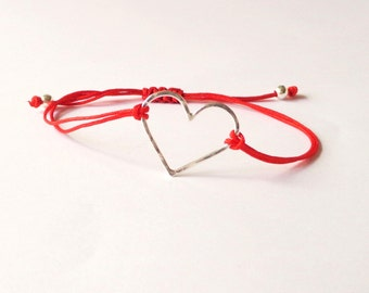 Sterling silver heart bracelet, red heart bracelet, simple jewellery, friendship bracelet, christmas, valentines gift, love