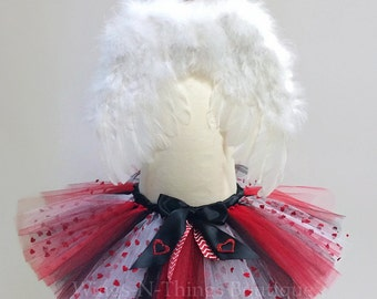 BABY CUPID COSTUME, Valentines Day Tutu Skirt Set with white feather wings, Girls, Baby, Toddler, Infant, hearts, kids, black, red