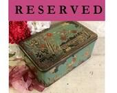 Stunning 1920s Art Deco Large Tin Box  Exotic Birds, Flamingos Cranes, Teal Aqua Orange, Vintage Antique Tin Box, Bird Lover Gift
