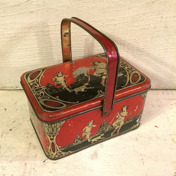 Antique Tin Small Lunch Box Style Vintage Tin Box By