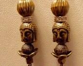 Buddha head brass rhinestone rondel bead earrings