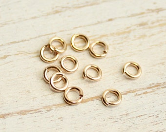 Gold Filled 4mm Hard Snap Jump Rings... 15 pieces... 20 gauge