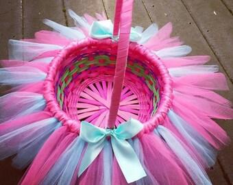 Tutu Easter Basket, Easter Basket, Tulle Basket, Pink Tutu Basket, Pink Tulle Basket, Flower Girl Basket, Tulle Basket, My Precious Tutu
