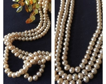 Vintage Pearl Necklace/ Champagne Pearl Necklace/ 3 Strand Pearl Bead Necklace/ Faux Pearl Beads/ 50's style/ Costume Jewelry