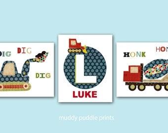 Personalized construction prints, Cement Truck,  Nursery decor, nursery art, kids room wall art, boys room, Dump truck - Construction boy