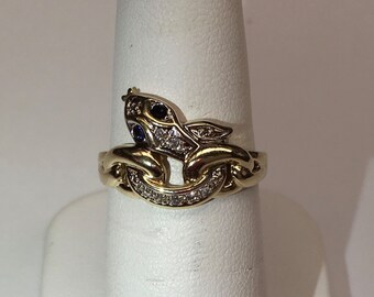 A Diamond Snake in Twisted Gold Ring with Sapphire Eyes