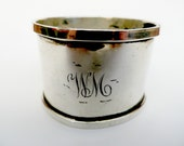 "Silver napkin ring, English sterling silver, Birmingham 1930, Duncan and Scobbie, serviette ring monogrammed ""WM"""
