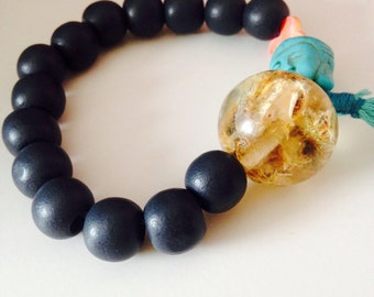 Buddha bracelet- with light blue edge-tassel jewelry- grey turquoise jewelry- well-being  helper/coach- the buddha