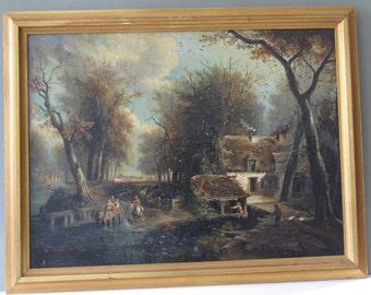 Antique 19th Century Oil Painting England Landscape