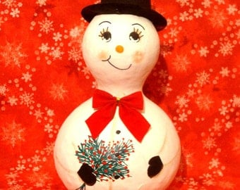 Snowman Bottle Gourd, Top Hat, Bow Tie, Bouquet, X-Large, Handpainted (SN451)