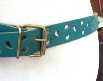 turquoise leather belt- holes belt