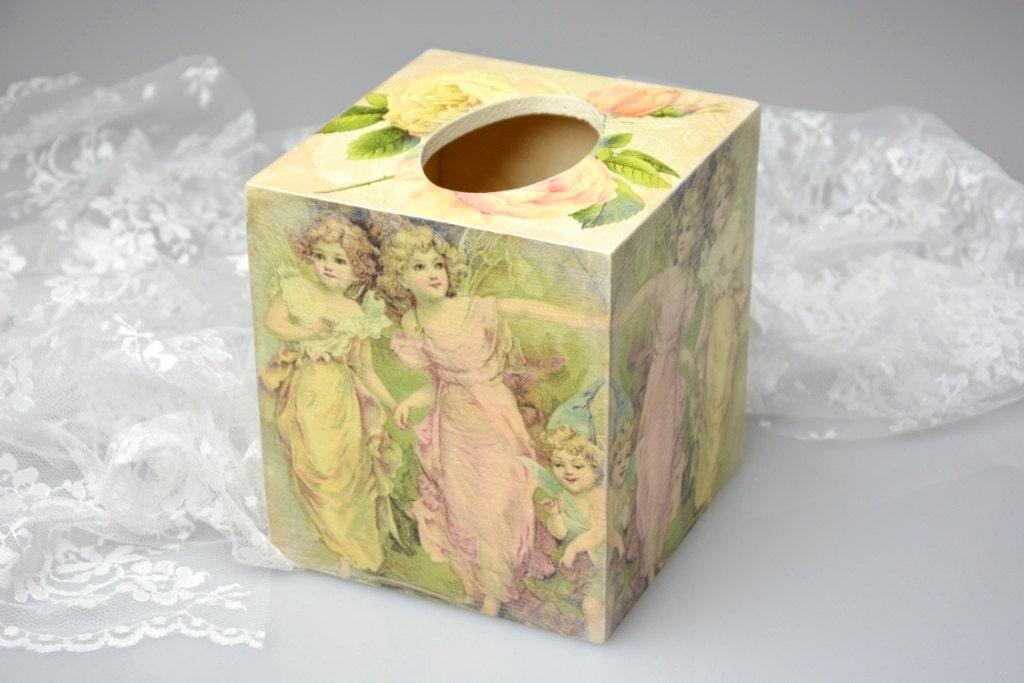 Fairy tissue box cover shabby chic klennex box cover wooden for Tissu shabby chic