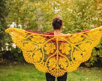 Yellow triangle scarf shawl - mohair and acrylic unique handmade crochet