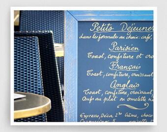 Paris Photography - Petit déjeuner - Paris photo,Fine art photography,Paris decor,8x10 wall art,breakfast,blue,Fine art prints,Art Posters