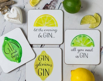 Humorous Gin Coasters - Funny Coasters - Funny Gift For The Home - Funny Gin Gift - Gift For Gin Lovers - Gin Coasters - Funny Birthday Gift