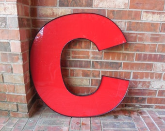 """GIANT Reclaimed RED Plastic Sign Letter """"C"""", Wedding, Valentine, Industrial Salvage, Home Decor, Office Decor, Industrial Decor"""