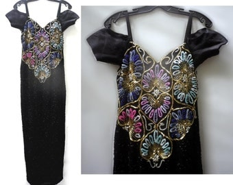 Vintage Sequin Dress Bead Long Gown Off the Shoulder Black Pink Purple Blue Green Gold Silver 80s Showstopper Performer Dressy Party Small S