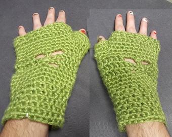 Bamboo Silk Butterfly Fingerless Gloves [MOSS/GREEN]