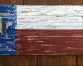 Texas Flag With Rustic cut-out Tin Texas Star