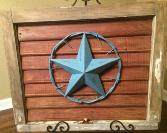 Salvaged Antique Window Frame with  Turquoise Texas Star on Salvaged Wood