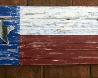 Texas Flag With Rustic cut-out Tin Texas Star